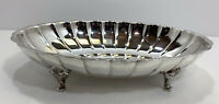 """Vintage WM. A Rogers 11 1/2"""" Footed Silverplate Scalloped Oval Serving Bowl"""
