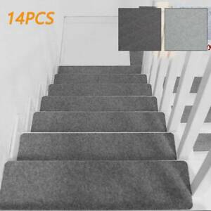 14X Stair Tread Carpet Mats Step Staircase Non Slip Mat Protection Cover Pads UK