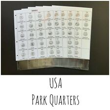 United States Park Quarters Inserts for Coin Folder / Album