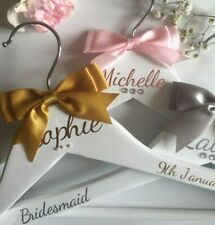 Personalised Wedding Dress Hangers Bridal Bridesmaid Prom Gift White Wooden