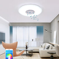 LED Music Ceiling Light Round Lamp with Bluetooth Speaker Home Decoration USA