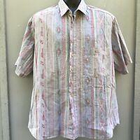 Vtg Mens 90s Maui Trading Co Hawaiian Tiki Tribal Aztec Shirt Reverse Print XL