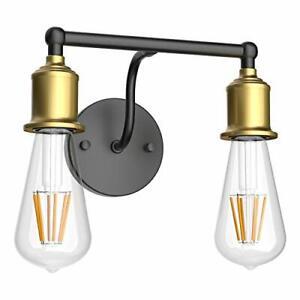 Industrial Wall Sconce Bathroom Vanity Lighting Fixture 2 2-Light Black+gold
