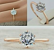 Rose Gold Plated Womens Ladies Girls Cubic Zirconia CZ Engagement Solitaire Ring