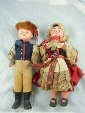Puppenpärchen, Celluloid Köpfe, Teils Gummikörper, org. Kleidung, 50-60er Jahre,