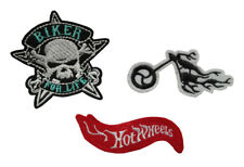 Set of 3 Motor Cycle Iron On / Sew On Embroidery Patches motif bike skull flames