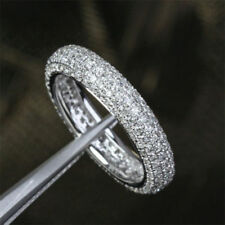 2.00ct round d vvs1 diamond eternity wedding ring women band 14k white gold over