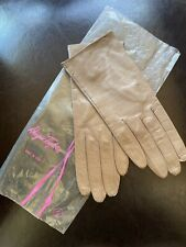Vintage Dayne Taylor Womens Xs Tan Leather Silk Lined Gloves Italy 6.5