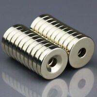 10x Starke Neodym Magnete N50 20x4mm mit Senkung Bohrung 5mm Ring Magnet Set