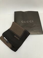 Authentic Gucci Silk Brown & Tan Ladies Scarf - New Without Tags