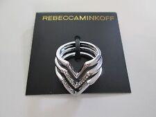 NWT Auth Rebecca Minkoff Silvertone Chevron Rhinestone Ring Set of 3 $58