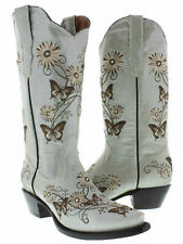 Womens Leather Western Boots Butterfly Flower Embroidered Snip Off White Size 10