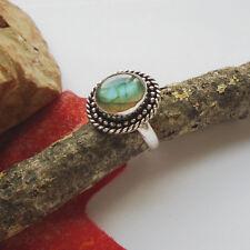 Labradorit, rund, grün, Cabochon, Ring, Ø 19,5 mm, Silber plattiert, modern, neu