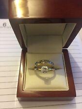 14ct Gold Ladies QVC Diamonique Engagement Ring & Eternity Ring