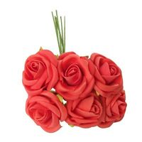Bunch of 6 Small Red Open Roses! Light Coral Red Foam Flowers Wedding