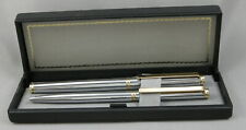 Premier Germany Chrome & Gold Fountain Pen & Ballpoint Pen Set In Box - New