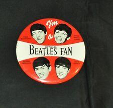 "THE BEATLES NEMS 1964 ""I'M A OFFICIAL BEATLES FAN"" 4"" PIN BACK BUTTON ~ LOOK!"