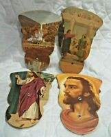 4 Beautiful Religious Cardboard Fold Out Religious Advertising Fans