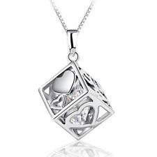 Women's 925 sterling silver necklace Love cube zircon Pendant fashion jewelry