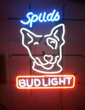 "New Spuds MacKenzie Bud-Light Beer Bar Neon Sign 17""x14"" Real Glass Decor"