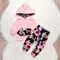 2PCS Newborn Kids Baby Girls Sweatshirt Hoodies+Pants Floral Clothes Outfits Set