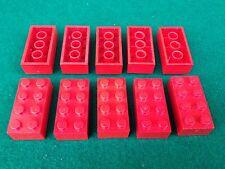 LEGO (3001) 2x4 - Rosso Red Rote , 10 Mattoncini Brick Basic Steine