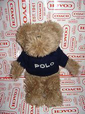 "POLO RALPH LAUREN 2002 TEDDY BEAR BLUE KNIT SWEATER PLUSH STUFFED BROWN 10"" CUTE"