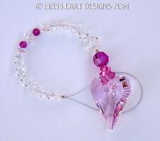 m/w Swarovski ROSALINE PINK Wild Heart + Fuschia SunCatcher Lilli Heart Designs