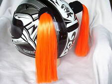 HELMET PIGTAILS STICK ON,MOTORCYCLE / BIKE  ... ORANGE & BLACK ..... H D Colors