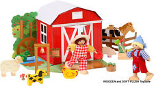 NEW child's gift FARM HOUSE ACTIVITY DOLL SET pretend play wooden FARM ANIMALS