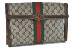 Authentic GUCCI Web Sherry Line Clutch Bag GG PVC Leather Brown Beige D8412