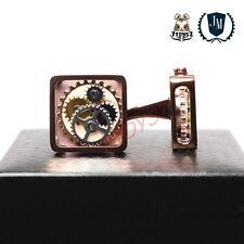 JM Company: Brass Gear Cufflinks: Chocolate  ZZ053C