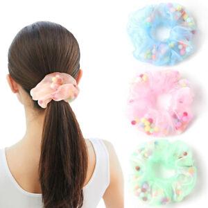 2Pc Organza Sheer Scrunchie Color Mesh Gauze Ball Hair Ring Ponytail Hair Rope