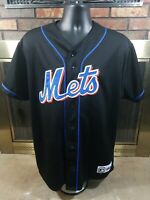 Vintage New York Mets Majestic MLB Baseball Jersey Mens Size Large/XL Black Sewn
