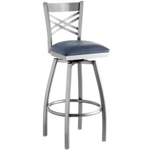 Cross Back Design Clear Coat Metal Swivel Barstool with Navy Blue Vinyl Seat