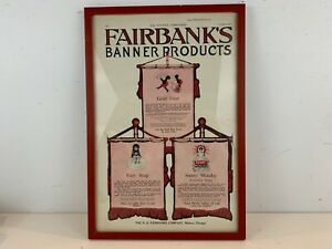 """Vtg Fairbank's Banner Products Gold Dust, Fairy Soap, Sunny Monday"""" Ad Poster"""