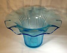 "HOCKING GLASS CO. MAYFAIR OPEN ROSE BLUE 5-1/2"" TALL RUFFLED SWEET PEA VASE!"