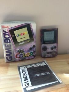 Nintendo CGB-001 Game Boy Color Handheld System - Purple Boxed with Instructions