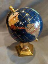 "Inlaid Semi Precious Stone Shell Spinning Rotating Earth World Globe 6"""