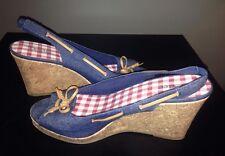 Dexter Blue Denim Platform 9 1/2 Cork Wedge Slingback Sandals Peep Toe Tie Pumps