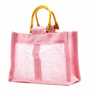 5 x Pink Two Small Jar Jute Gift Bag - Natural Gift Bags with handle and window