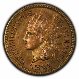 1885 1c Indian Head Small Cent - PQ Wood Grain Color - SKU-Z1902