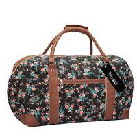 Womens Weekend Bag Ladies Canvas Overnight Holdall Hand Luggage Tote Handbag