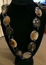 """Genuine Horn Necklace Chunky Chain Beautiful Shades of Brown and Black 44"""" Long"""