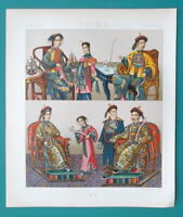 CHINA Costume Imperial Court Princesses Smoke Pipes - COLOR Print A. Racinet