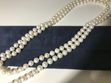 """Beautiful 48"""" genuine 8mm cultured pearl necklace Chopard suede travel pouch"""