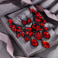 Retro Flower Jewelry Set Women Necklace Earrings Statement Red Crystal Gift