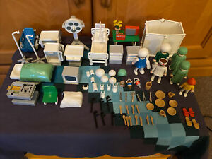Playmobil - Lot of Hospital Room and Other Parts - 3495, 3459 - Vintage