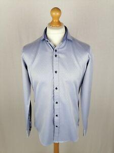 Mens Guide London Long Sleeve Shirt Size Large Slim Fit Blue Geometric