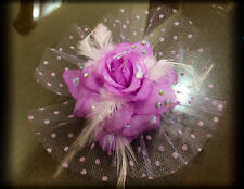 Purple Rose Feather Net Mini veil Barrette Bling Clip Rhinestone Bridal Hair Pin